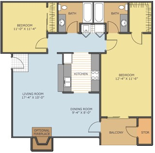 1,050 sq. ft. Magnolia floor plan