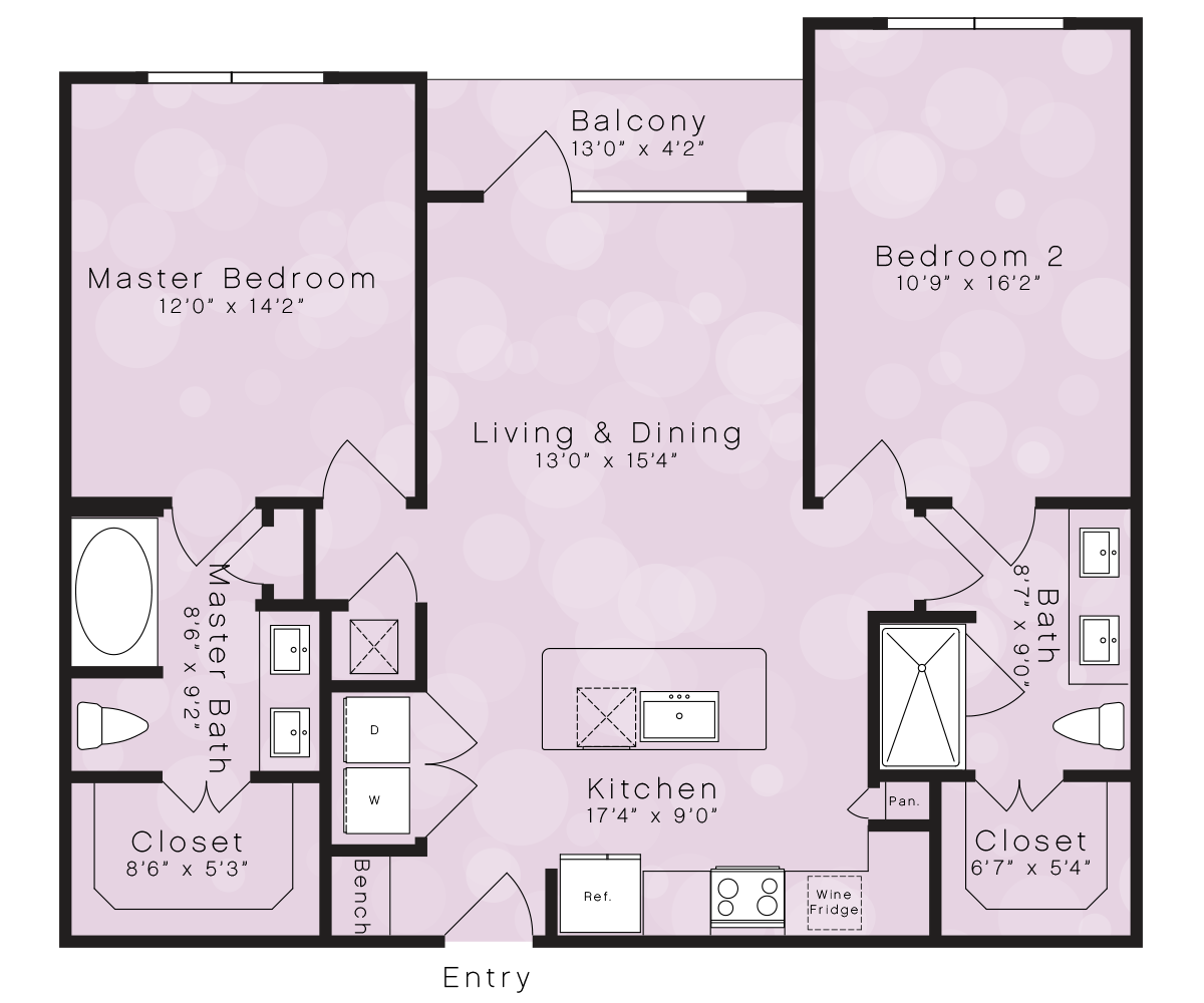 1,079 sq. ft. B1B floor plan