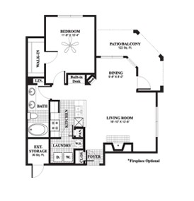 813 sq. ft. to 938 sq. ft. Sycamore floor plan