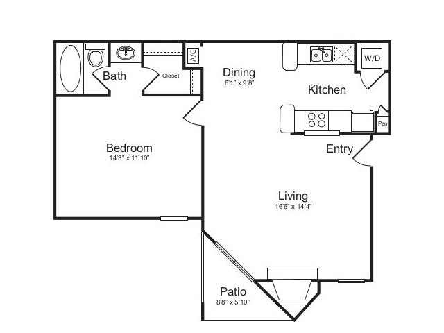 727 sq. ft. B floor plan