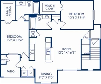 1,087 sq. ft. E floor plan