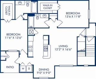 1,087 sq. ft. E floor plan