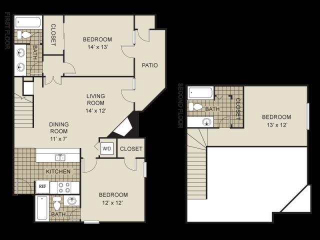 1,271 sq. ft. C2-C floor plan