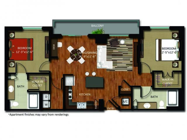 1,273 sq. ft. B4 floor plan