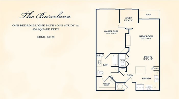 856 sq. ft. BARCELONA floor plan