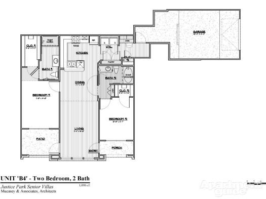 1,098 sq. ft. B4 HC 60 floor plan