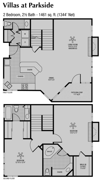1,344 sq. ft. to 1,461 sq. ft. G floor plan