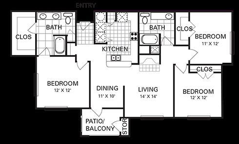 1,390 sq. ft. C1 PH I floor plan