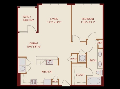 887 sq. ft. Barton Springs floor plan