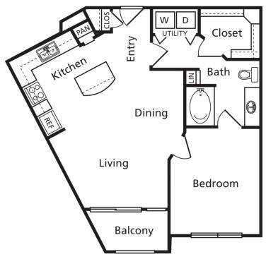 709 sq. ft. A3 floor plan