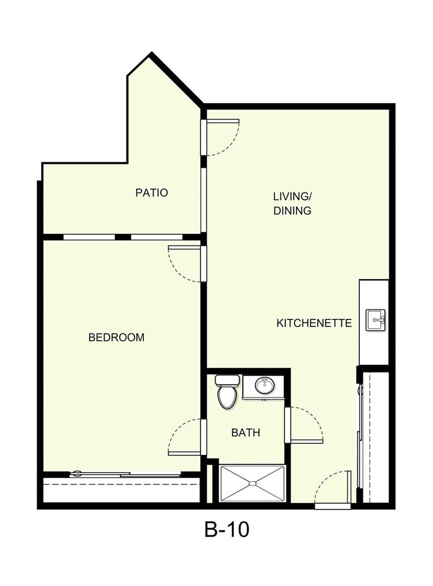 706 sq. ft. B10 floor plan