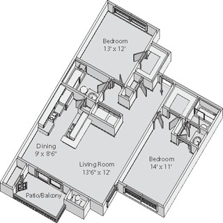 1,020 sq. ft. Farrington floor plan