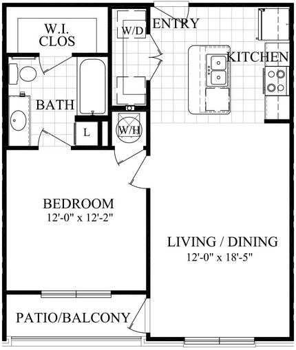 676 sq. ft. A1.2 floor plan