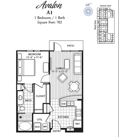 702 sq. ft. AVALON floor plan