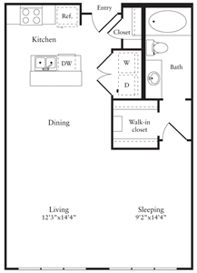 713 sq. ft. B floor plan