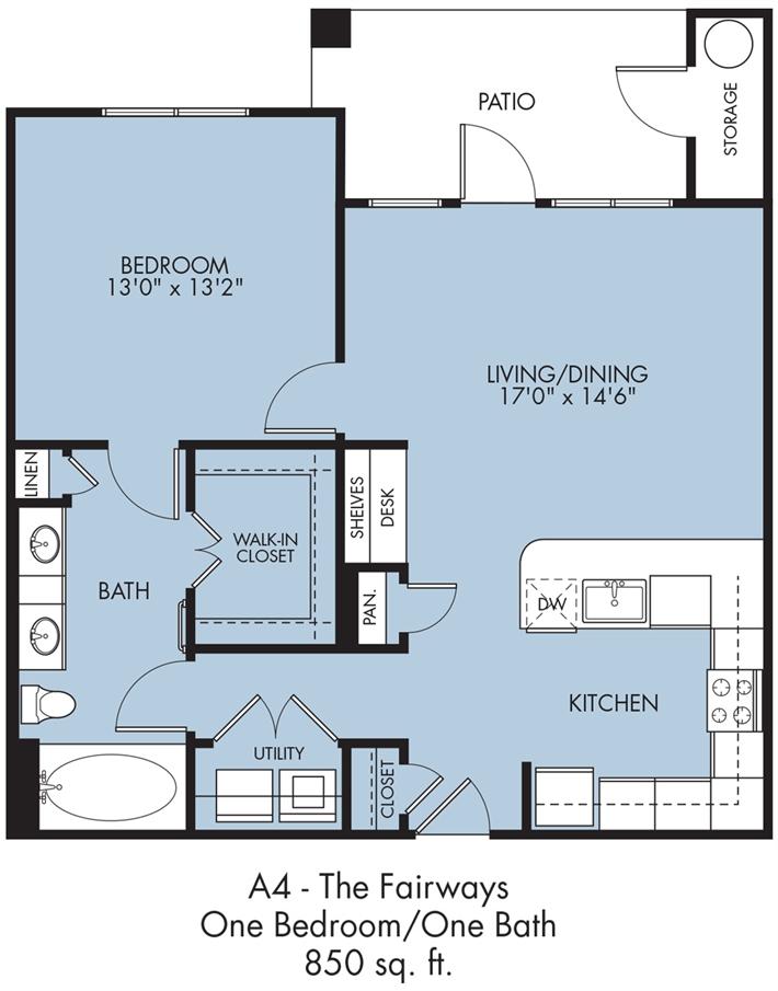 850 sq. ft. Fairways floor plan