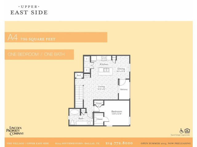 796 sq. ft. A4G floor plan