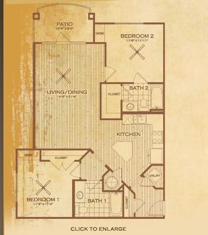 1,076 sq. ft. B3 Bonham floor plan