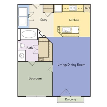 609 sq. ft. Cottage Hill floor plan