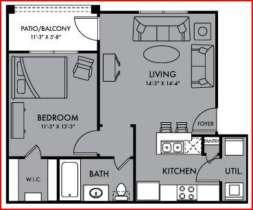 608 sq. ft. Halo floor plan