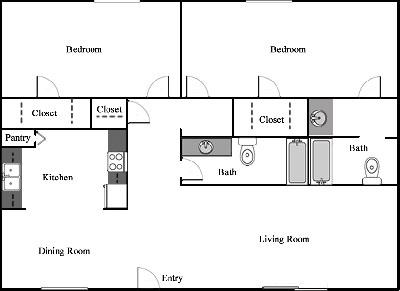 950 sq. ft. D-1/80% floor plan