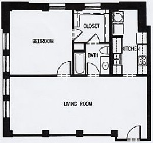 863 sq. ft. H1 MKT floor plan
