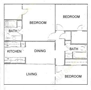 1,152 sq. ft. C floor plan