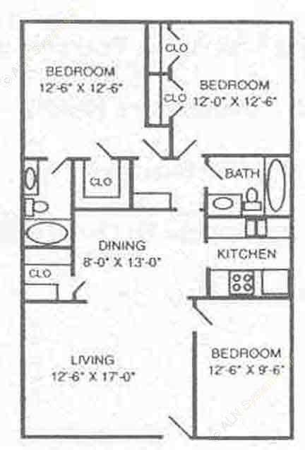1,172 sq. ft. B4 floor plan