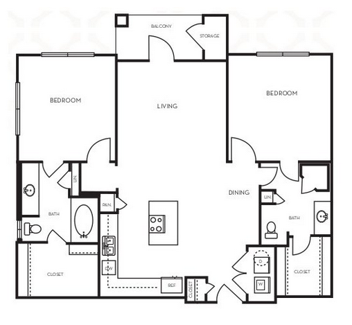 1,064 sq. ft. B1.7 floor plan