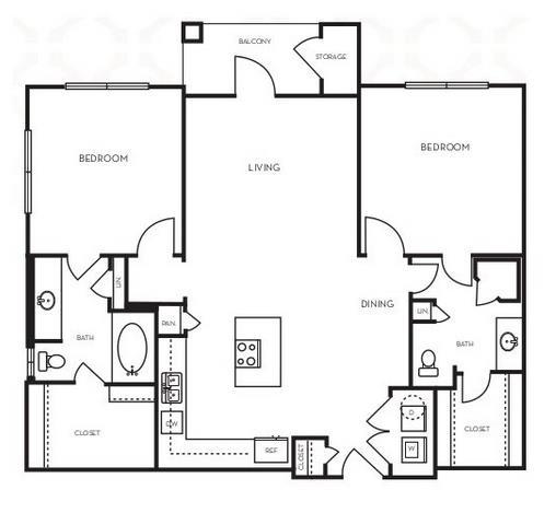 1,064 sq. ft. B1.7 floor plan