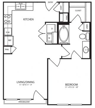677 sq. ft. A2-1 floor plan