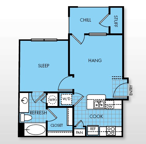 560 sq. ft. Amplify floor plan