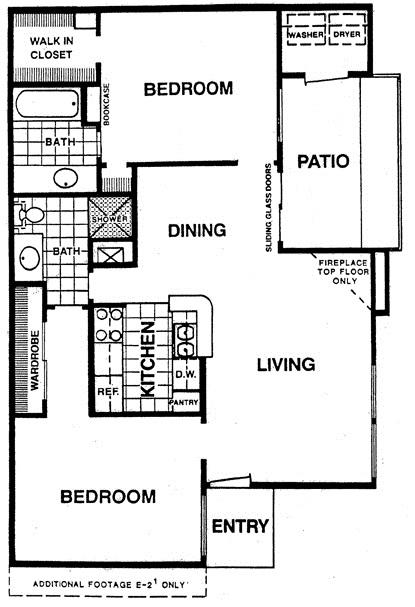 892 sq. ft. E1 floor plan