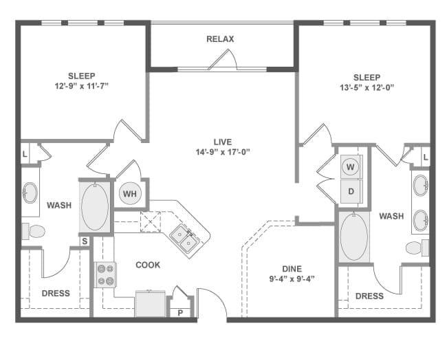 1,212 sq. ft. C6 floor plan