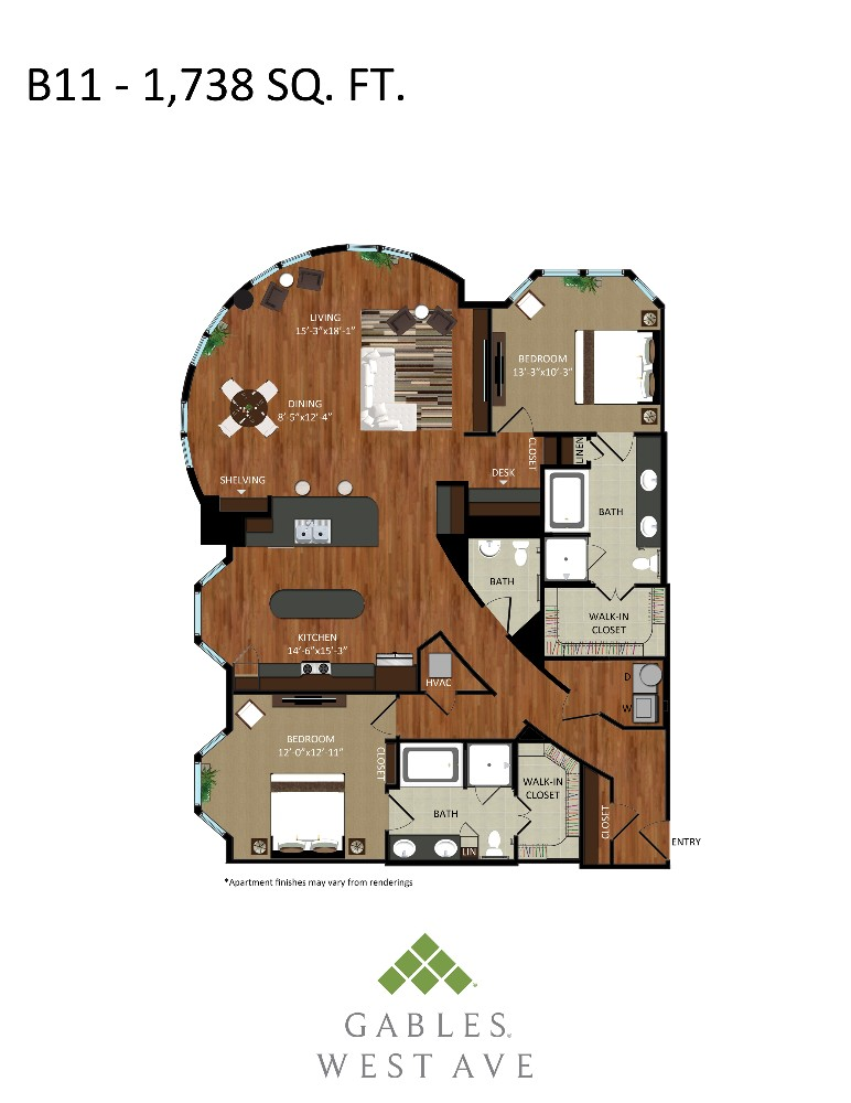1,738 sq. ft. B11 floor plan