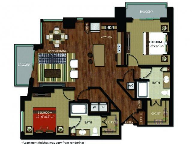 1,307 sq. ft. B9 floor plan