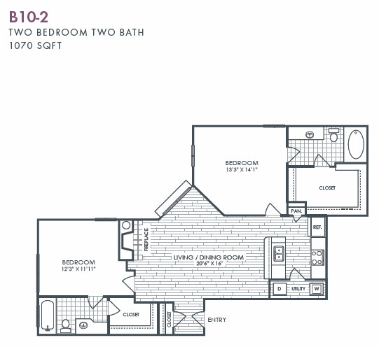 1,070 sq. ft. B10-2 floor plan