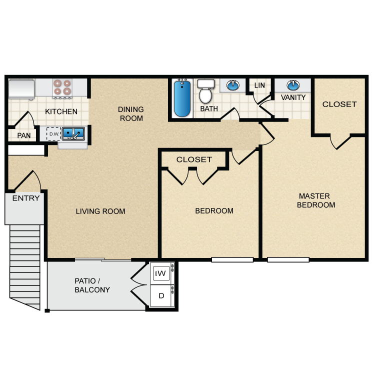 845 sq. ft. D floor plan