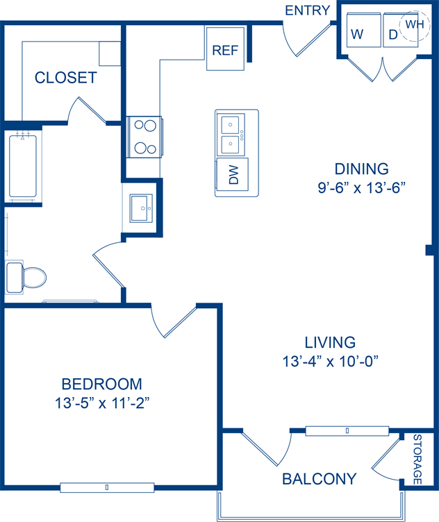 798 sq. ft. Dewberry floor plan