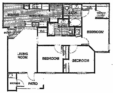 1,192 sq. ft. C1/60% floor plan