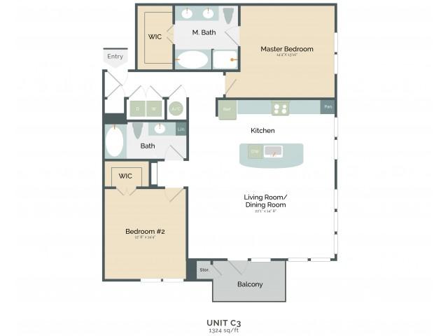 1,324 sq. ft. C3 floor plan