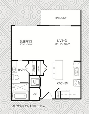 592 sq. ft. S1 floor plan