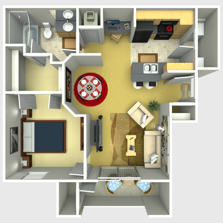 668 sq. ft. Legend floor plan