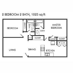 1,025 sq. ft. B floor plan