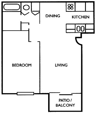 580 sq. ft. A3 floor plan