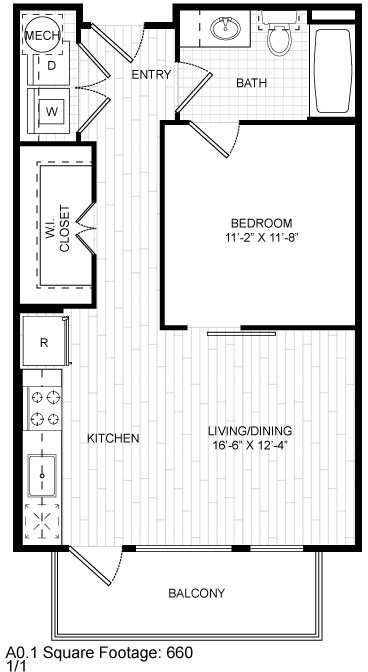 660 sq. ft. A0.1 floor plan