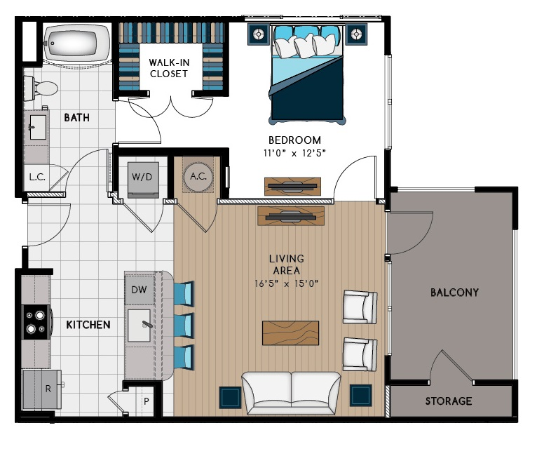 757 sq. ft. 1A1 floor plan