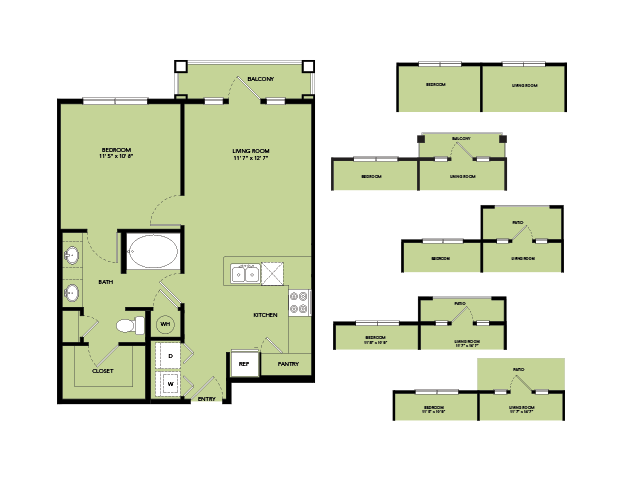 657 sq. ft. A2.5 floor plan