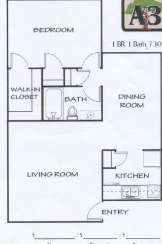 730 sq. ft. C floor plan
