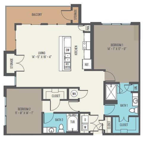 1,365 sq. ft. B5 floor plan